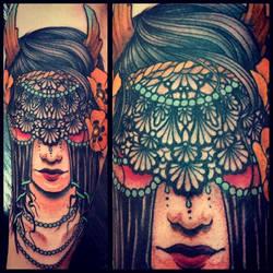 Veiled girl head by Uken