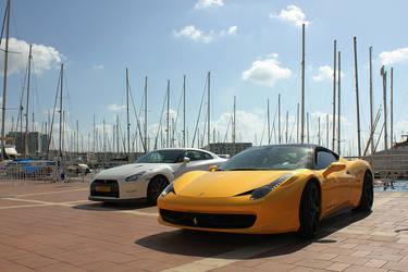 Ferrari 458 Italia and Nissan GT-R R35 by daharid