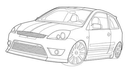 Ford Fiesta XR4 Line art by onyxcomix