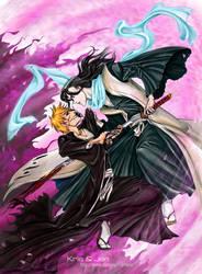Ichigo and Byakuya by jen-and-kris