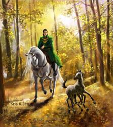 Loki and Sleipnir. by jen-and-kris