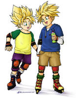 Goten n Trunks SSJRollerbladin by Glay