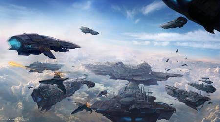 Spaceships Skycity Painting by MartaNael
