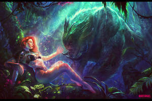 Resting Warrior and the Forest Monster by MartaNael