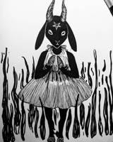 Baphomet Girl - Inktober Day18 by LittleGoa-t