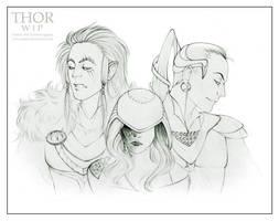 Fenrir, Hel and Jormungand WIP by Kota-Stoker