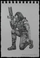 Winter Soldier sketch #3 by KateFrankienaBeck