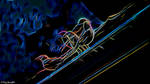 Neon Birds In Rain Gutter by destructiveburn