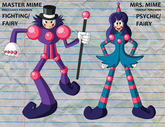 Fakemon: Master Mime and Mrs. Mime by HoshiKan