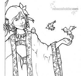 Kimono and Birds - BandW by Fayea