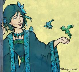 Bluebirds and Kimono by Fayea