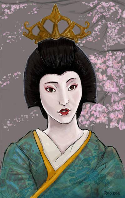 Geisha and blossom by Fayea