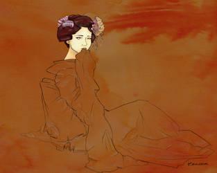 Worried Geisha by Fayea