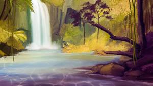 Hidden waterfall by Sabretooth2611