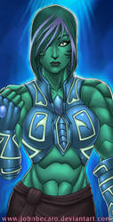 Bust Commission: Wave Girl by johnbecaro