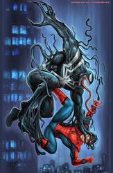 Venom versus Spider-Man by johnbecaro
