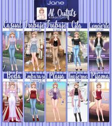 Jane All Outfits. (CDM/MCL) by Krnxtg97