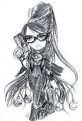 Bayonetta chibi Sketch by DarkLitria