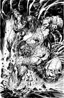 INKING SAMPLE - SYAF WOLVERINE vs HULK by FanBoy67