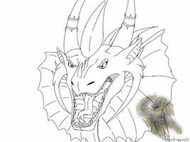 ???: The Elder Dragon Queen's Roar -lineart- by BlackDragon-Studios
