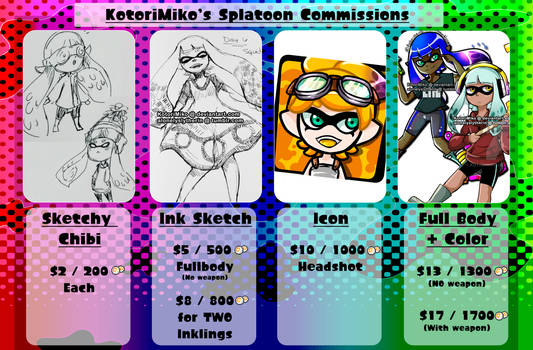 Splatoon Commissions Chart [Open] by acxrs