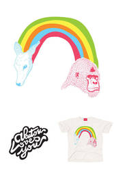 RAINBOW DEER AND GORILLA by Akutou-san