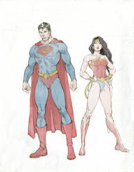 Superman and Wonder Woman by markpwhitaker