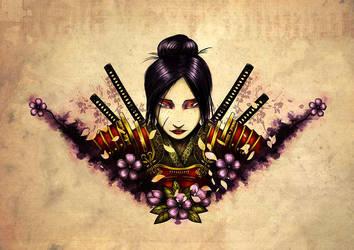 Female Samurai Tattoo Design by ManuDGI