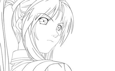 Kaori Saeki :lineart: by SasukeRoxMySox2