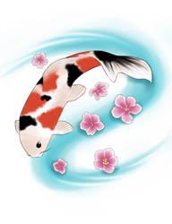 Koi and blossom Tattoo Design by SasukeRoxMySox2