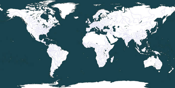 Blank World Map Rivers Only By Moxn On Deviantart