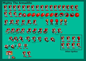 Sonic ATS/Mighty The Armadillo Sprite Sheet Remade by WinstonTheEchidna
