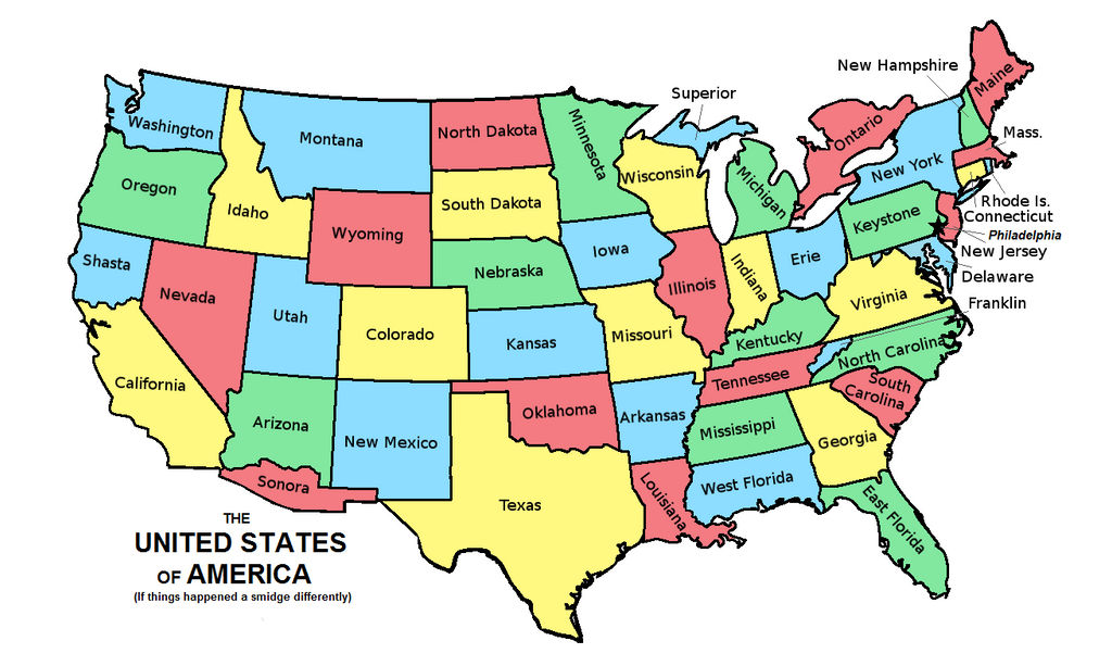 Alternate United States Map.Alternate United States By Improbablespace On Deviantart