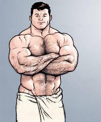 Hank McCoy in a bath towel by NMRosario
