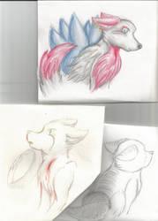 Dogs (+ fox) by ShadowAngel9876