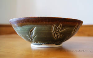 Green Wetlands Themed Ceramic Bowl by pixelboundstudios