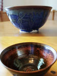 Dark Blue Wetlands Themed Ceramic Bowl by pixelboundstudios