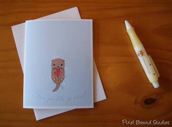 Chibi Otter with Heart Balloon Valentine Card by pixelboundstudios