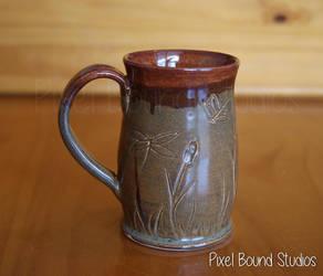Hand Thrown Bronze Wetlands Themed Ceramic Mug by pixelboundstudios