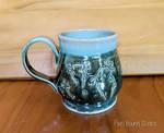 Hand Thrown Green Axolotl Themed Ceramic Mug by pixelboundstudios