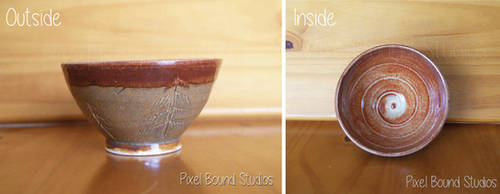 Hand Thrown Pine Tree Themed Ceramic Bowl by pixelboundstudios
