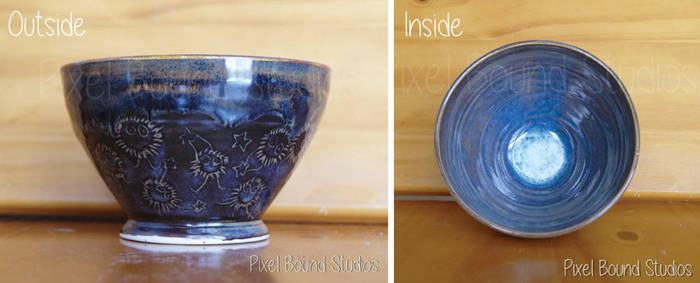 Hand Thrown Soot Sprite Themed Ceramic Bowl by pixelboundstudios