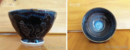 Hand Thrown Mushroom Themed Ceramic Bowl by pixelboundstudios