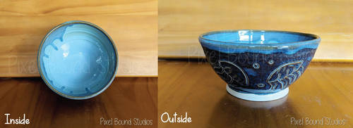 Hand Thrown Blue Jellyfish Themed Ceramic Bowl by pixelboundstudios