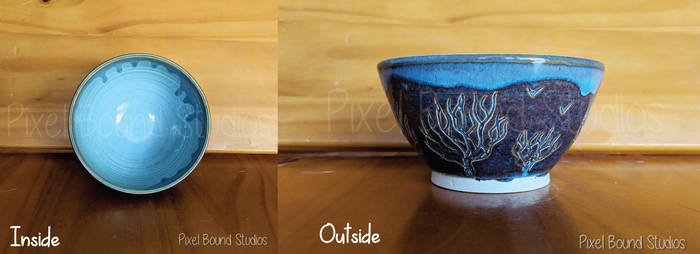 Hand Thrown Tree Themed Ceramic Bowl by pixelboundstudios