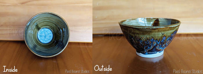 Hand Thrown Green and Blue Tree Ceramic Bowl by pixelboundstudios