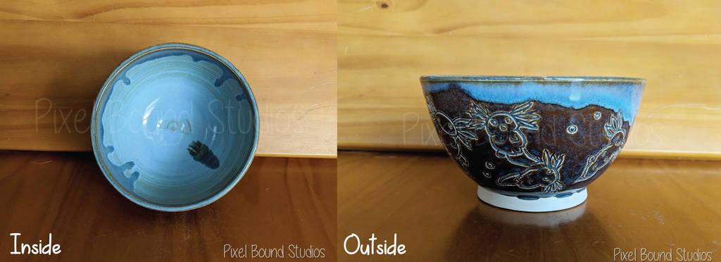 Hand Thrown Axolotl Themed Ceramic Bowl by pixelboundstudios