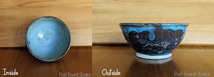 Hand Thrown Blue Axolotl Themed Ceramic Bowl by pixelboundstudios