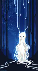 Forest Spirit in Night by emilywarrenart