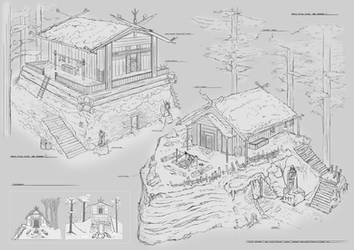 Norse Ritual houses Exterior designs term 02 FZD by Steven-Ashford